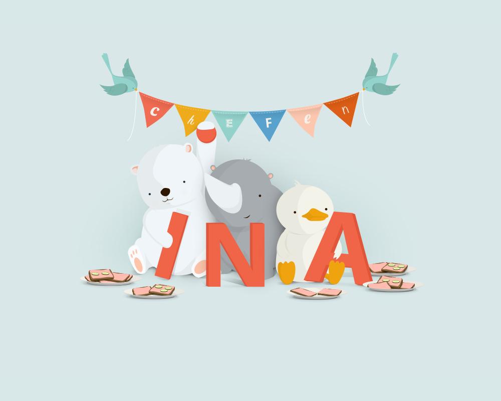 Ina | En unik navneplakat fra Bogstavzoo