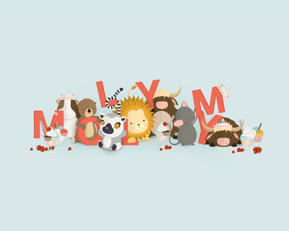 Molly My | En unik navneplakat fra Bogstavzoo
