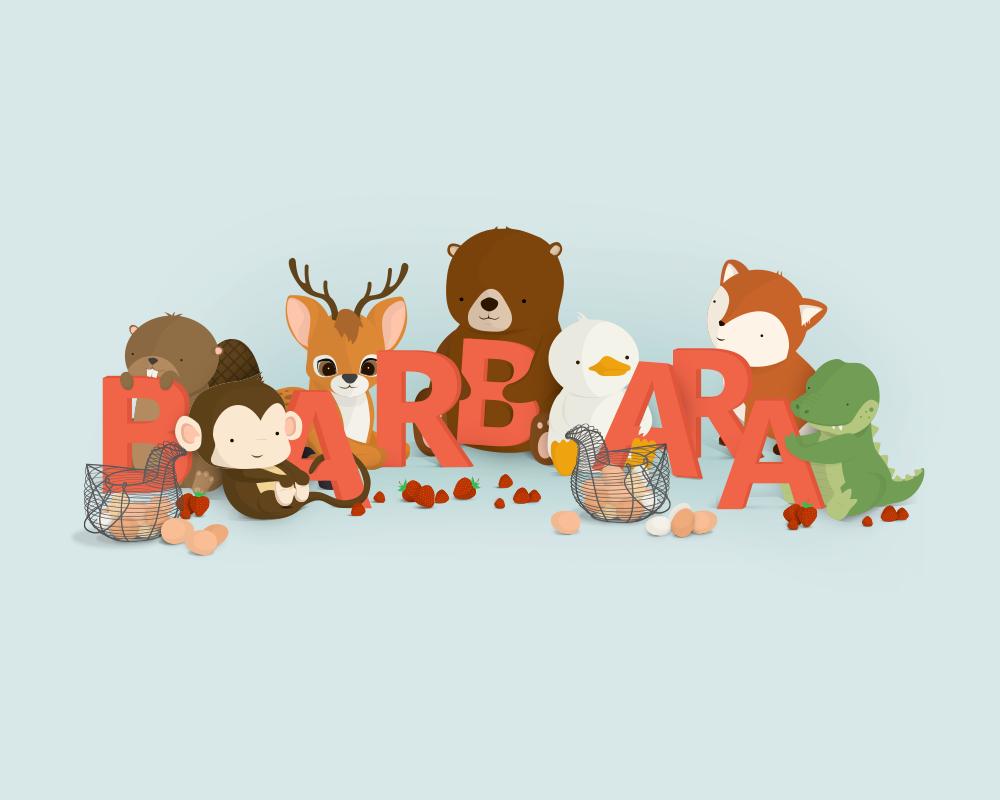 Bogstavzoo - Barbara unik navneplakat