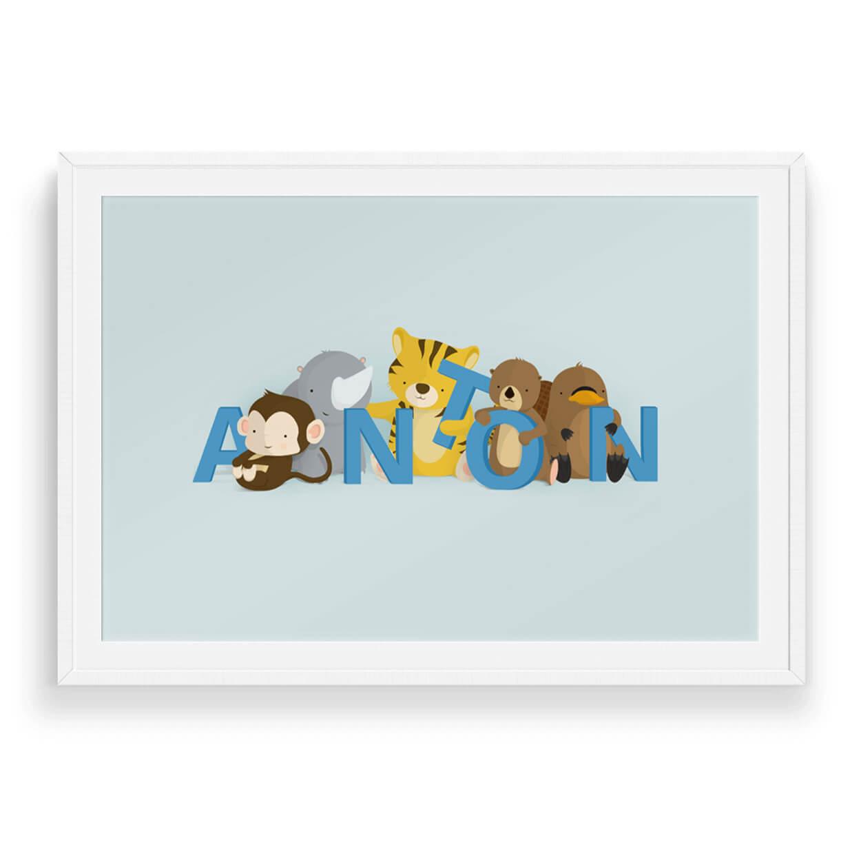 Anton navneplakat | Børneplakater fra Bogstavzoo