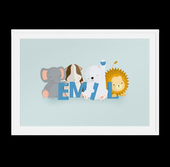 Emil navneplakat fra Bogstavzoo