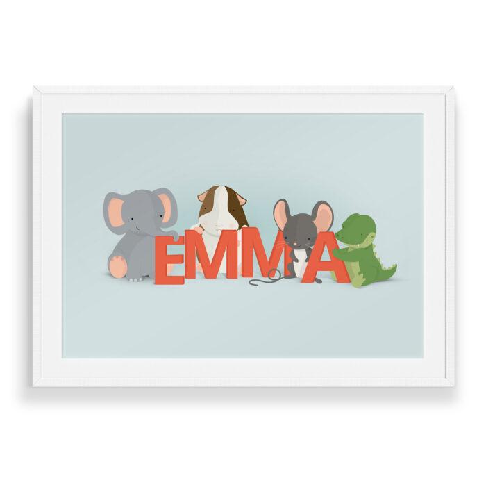 Emma navneplakat fra Bogstavzoo
