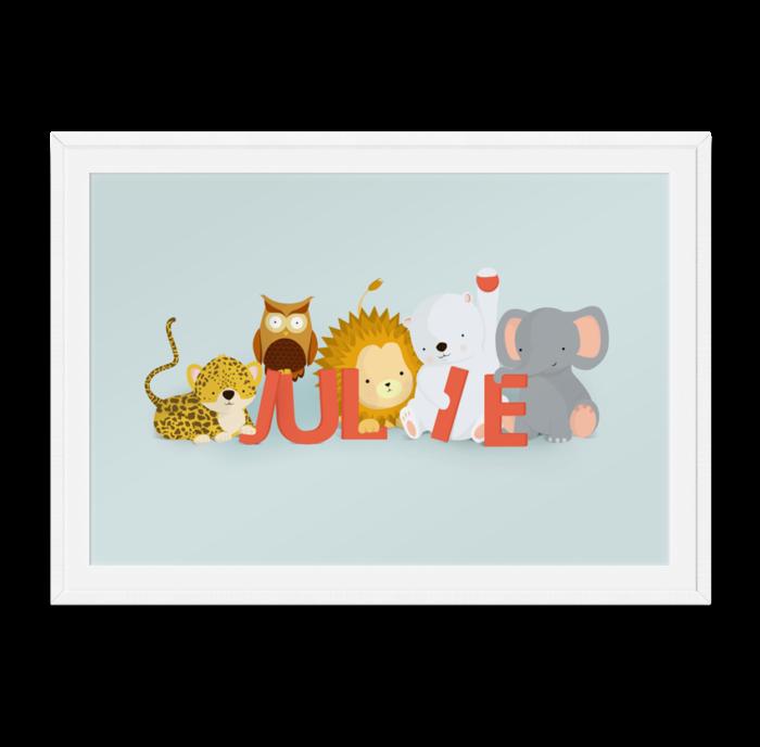 Julie navneplakat fra Bogstavzoo