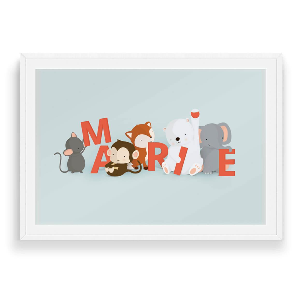 Marie navneplakat | Børneplakater fra Bogstavzoo