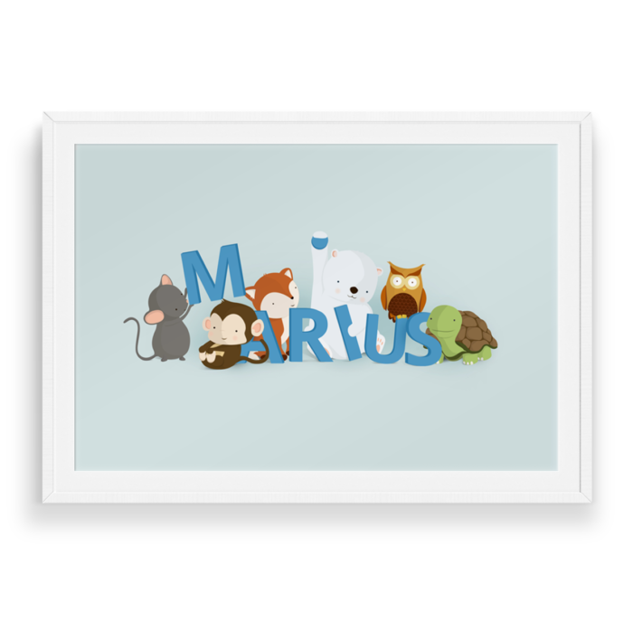 Marius navneplakat fra Bogstavzoo