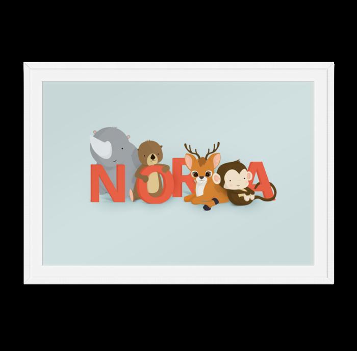 Nora navneplakat fra Bogstavzoo