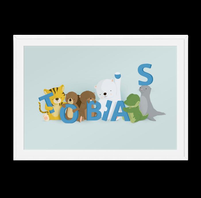 Tobias navneplakat fra Bogstavzoo