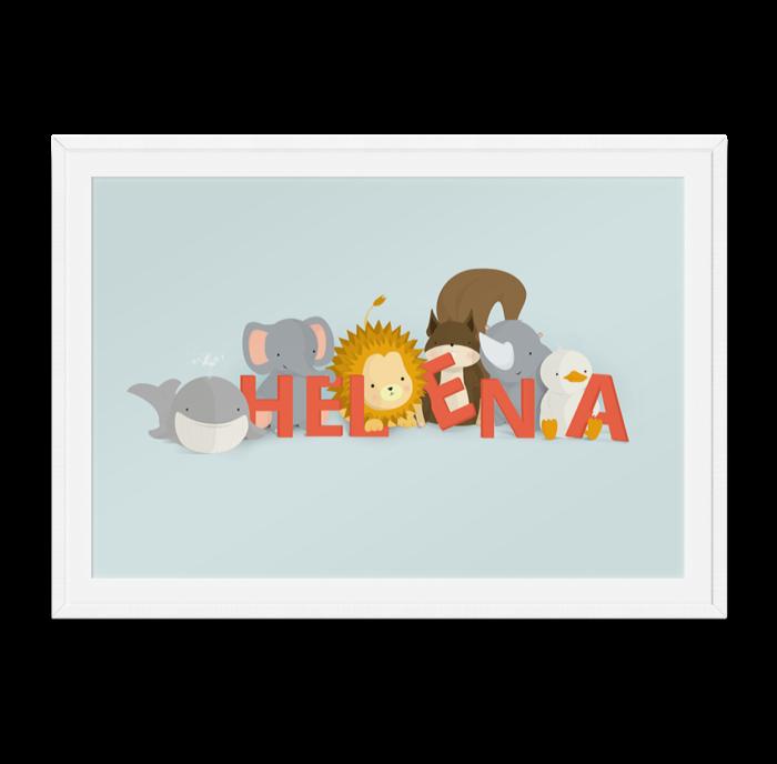 Helena navneplakat fra Bogstavzoo