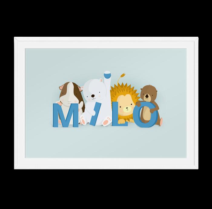 Milo navneplakat fra Bogstavzoo