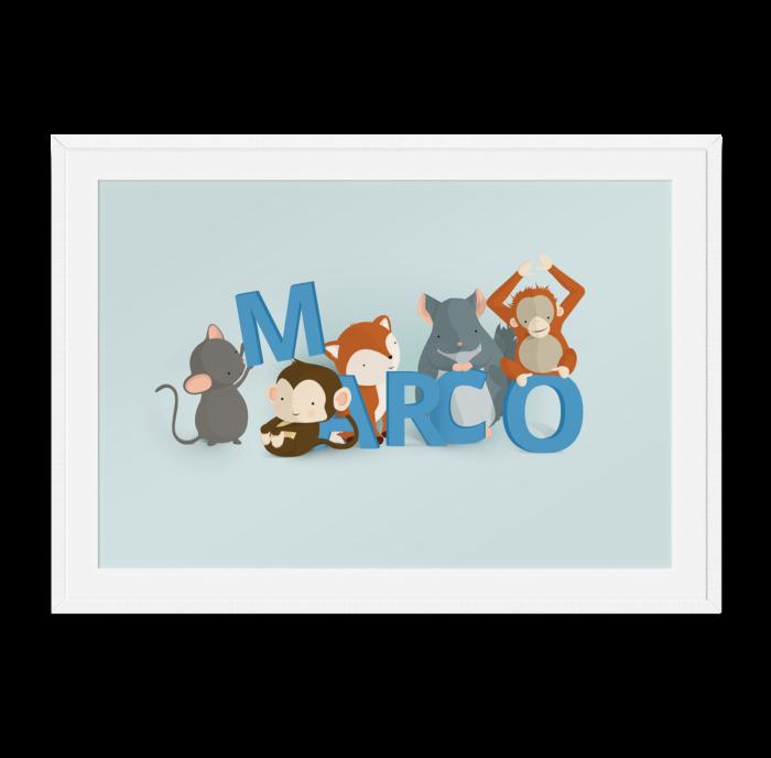 Marco navneplakat fra Bogstavzoo
