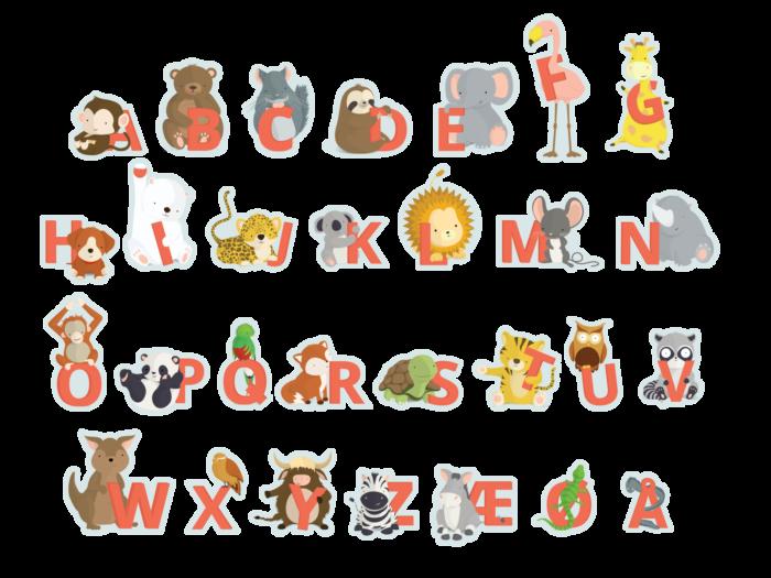 Røde klistermærker fra Bogstavzoo