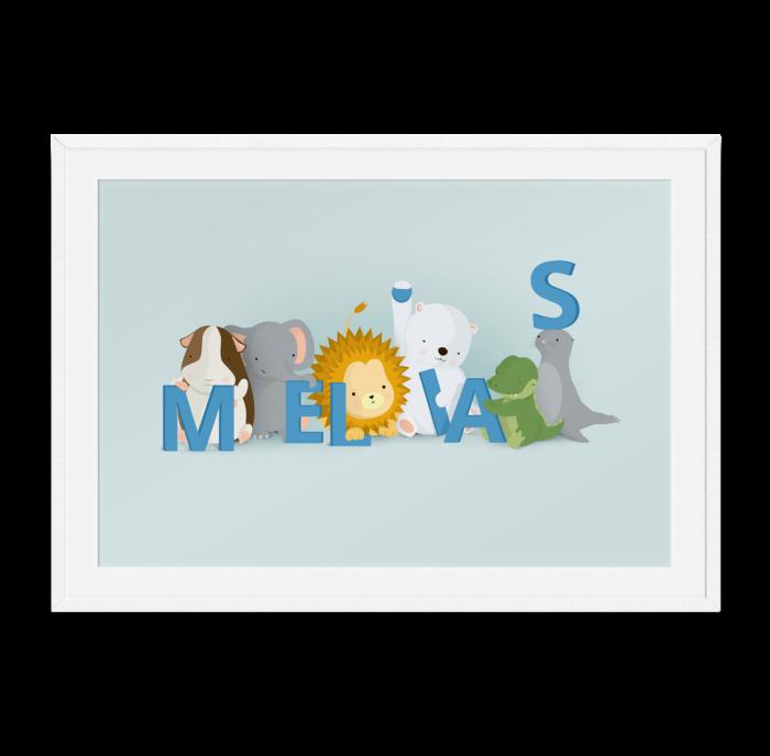 Melias navneplakat fra Bogstavzoo