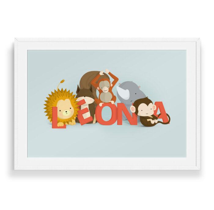 Leona navneplakat   Børneplakater fra Bogstavzoo