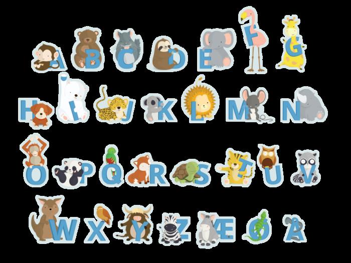 Blå klistermærker fra Bogstavzoo