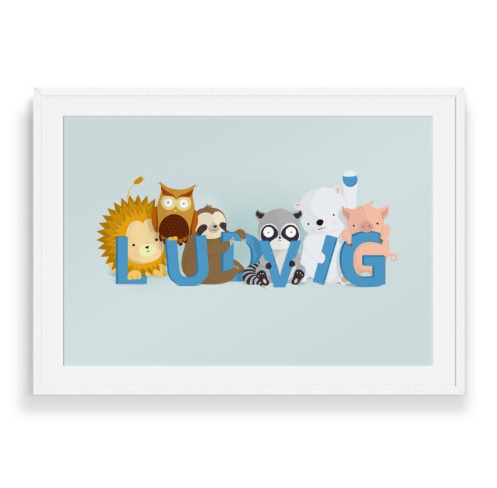Ludvig navneplakat | Børneplakater fra Bogstavzoo