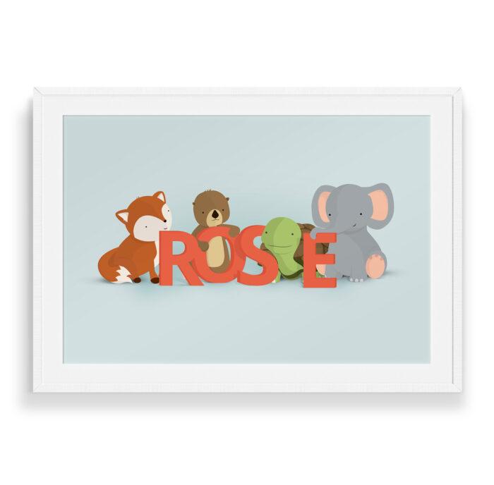 Rose navneplakat   Børneplakater fra Bogstavzoo