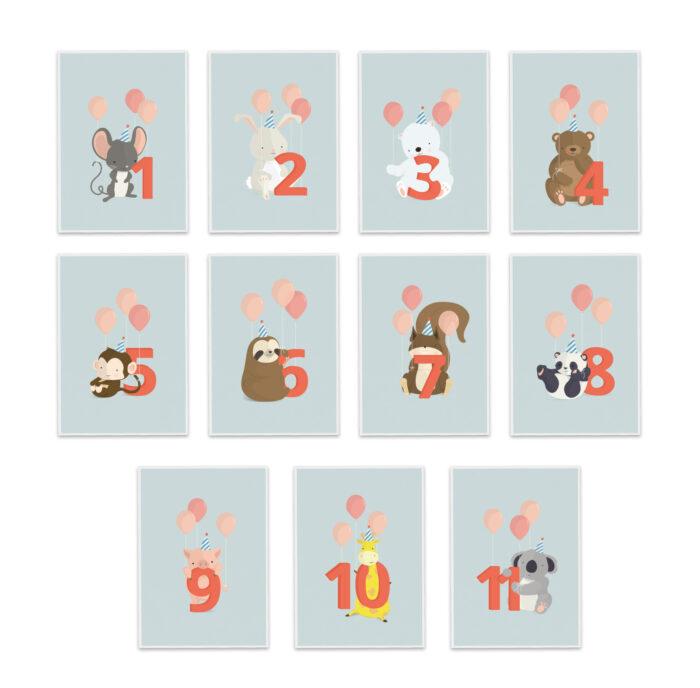 Fødselsdagskort fra Bogstavzoo | Pakke med fødselsdagskort 1-11 mdr./år.