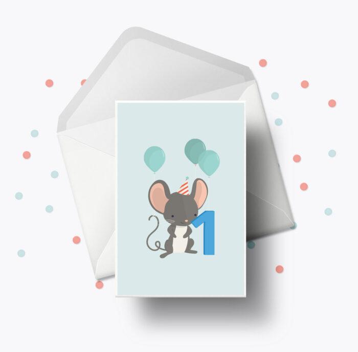 Fødselsdagskort fra Bogstavzoo | 1 års og 1 måneders mærkedage