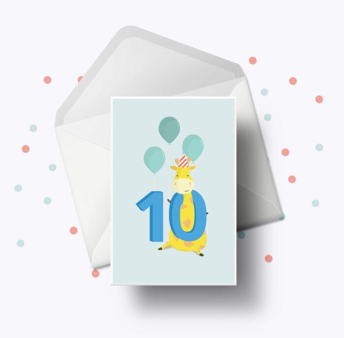 Fødselsdagskort fra Bogstavzoo | 10 års og 10 måneders mærkedage