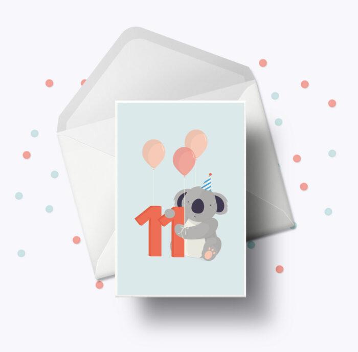 Fødselsdagskort fra Bogstavzoo | 11 års og 11 måneders mærkedage