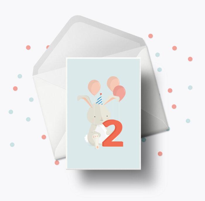 Fødselsdagskort fra Bogstavzoo | 2 års og 2 måneders mærkedage