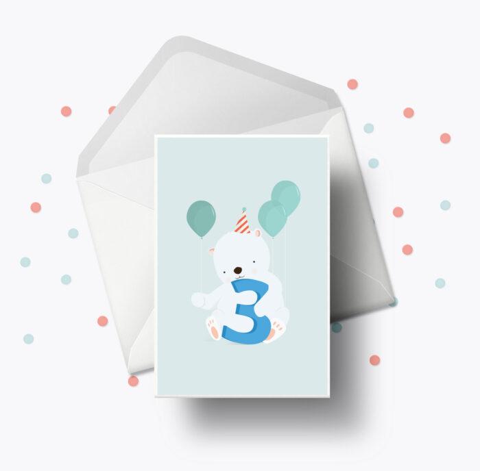 Fødselsdagskort fra Bogstavzoo | 3 års og 3 måneders mærkedage