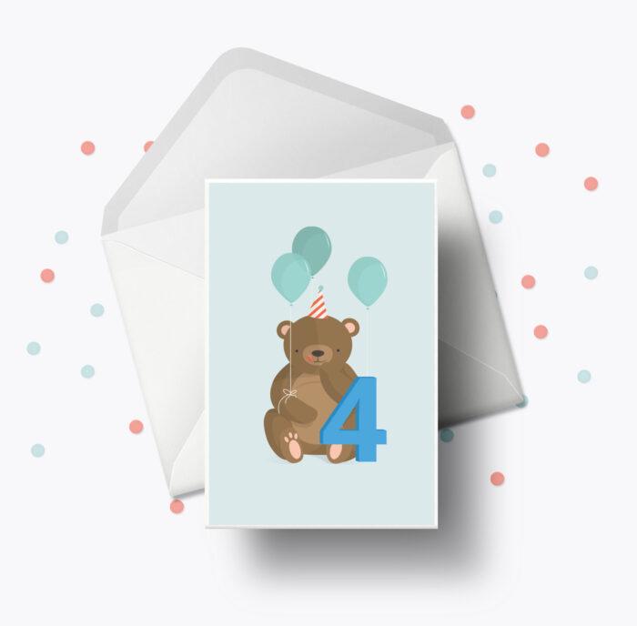 Fødselsdagskort fra Bogstavzoo | 4 års og 4 måneders mærkedage