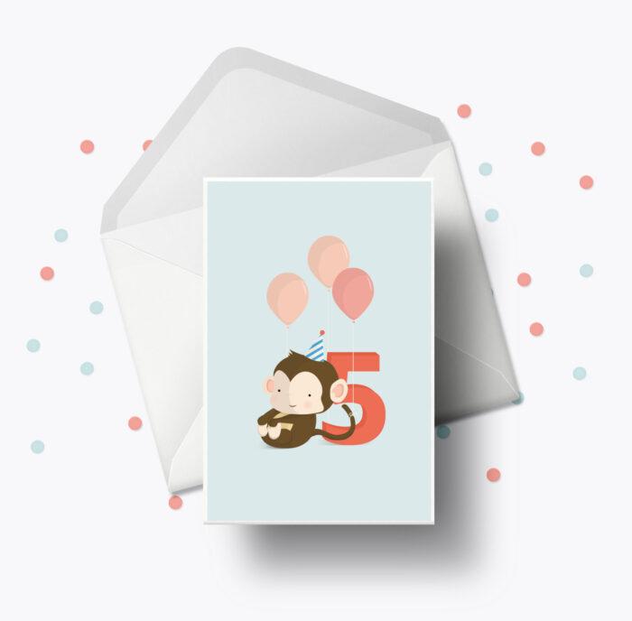 Fødselsdagskort fra Bogstavzoo | 5 års og 5 måneders mærkedage
