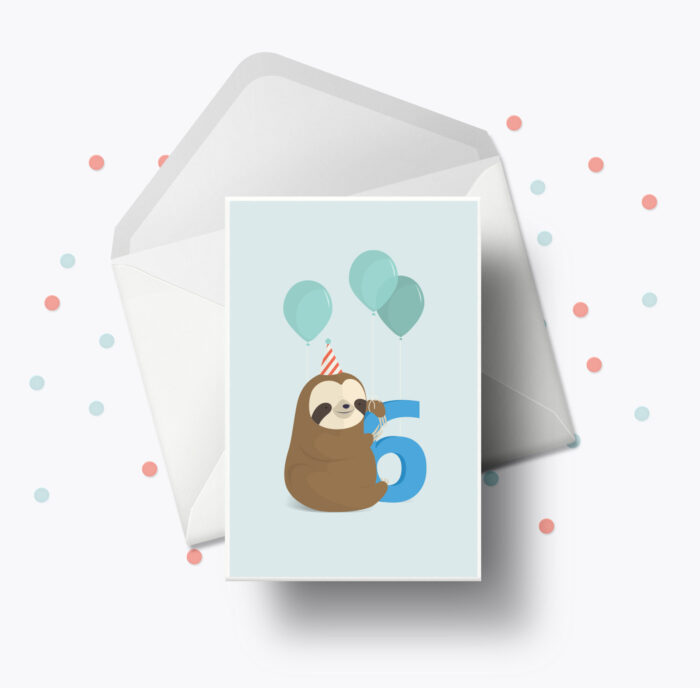 Fødselsdagskort fra Bogstavzoo | 6 års og 6 måneders mærkedage