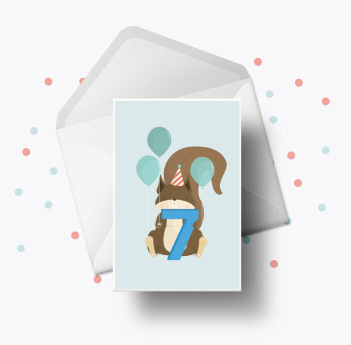 Fødselsdagskort fra Bogstavzoo | 7 års og 7 måneders mærkedage