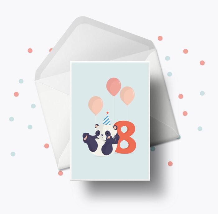 Fødselsdagskort fra Bogstavzoo | 8 års og 8 måneders mærkedage