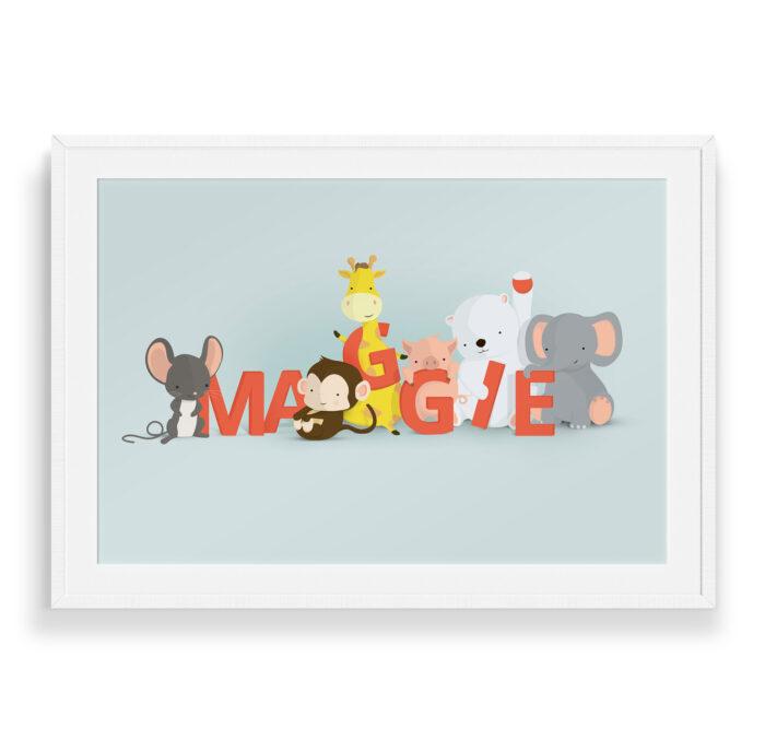 Maggie navneplakat   Børneplakater fra Bogstavzoo