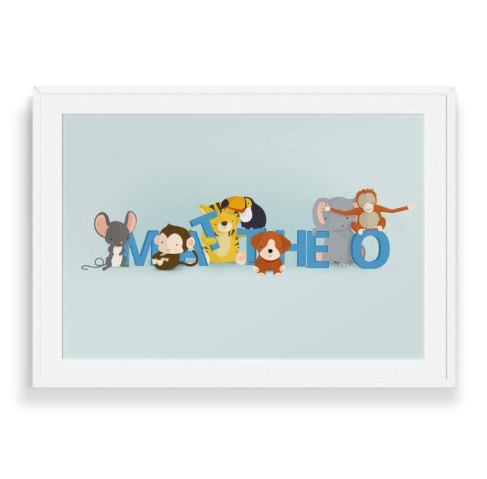 Mattheo navneplakat | Børneplakater fra Bogstavzoo