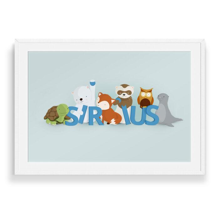 Sirius navneplakat | Børneplakater fra Bogstavzoo