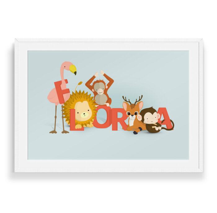 Flora navneplakat | Børneplakater fra Bogstavzoo