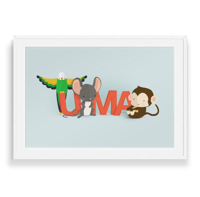 Uma navneplakat | Børneplakater fra Bogstavzoo