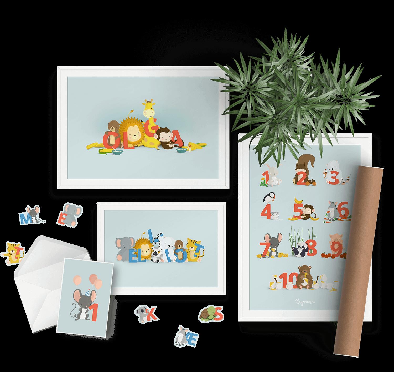 Børneplakater fra Bogstavzoo - til søde piger og drenge
