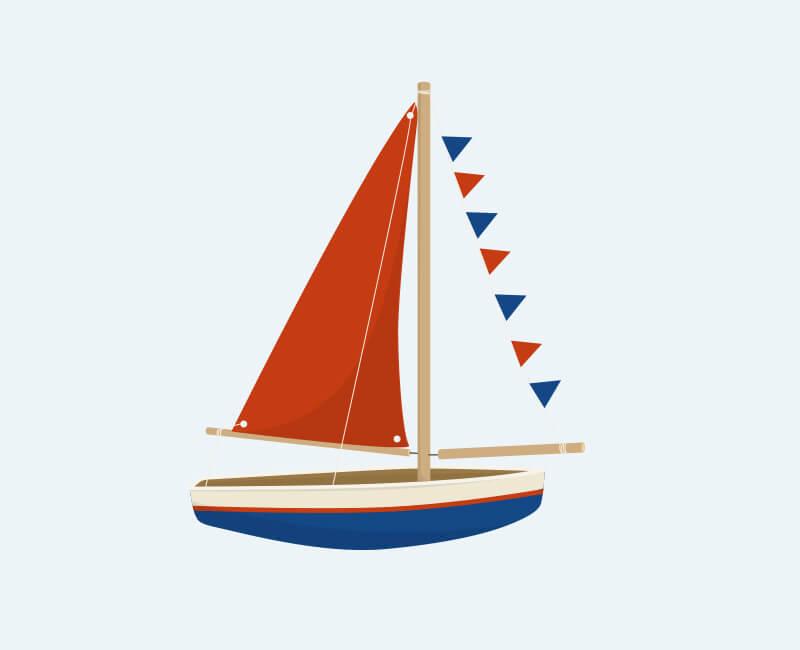 Skib fra personlig navneplakat fra Bogstavzoo