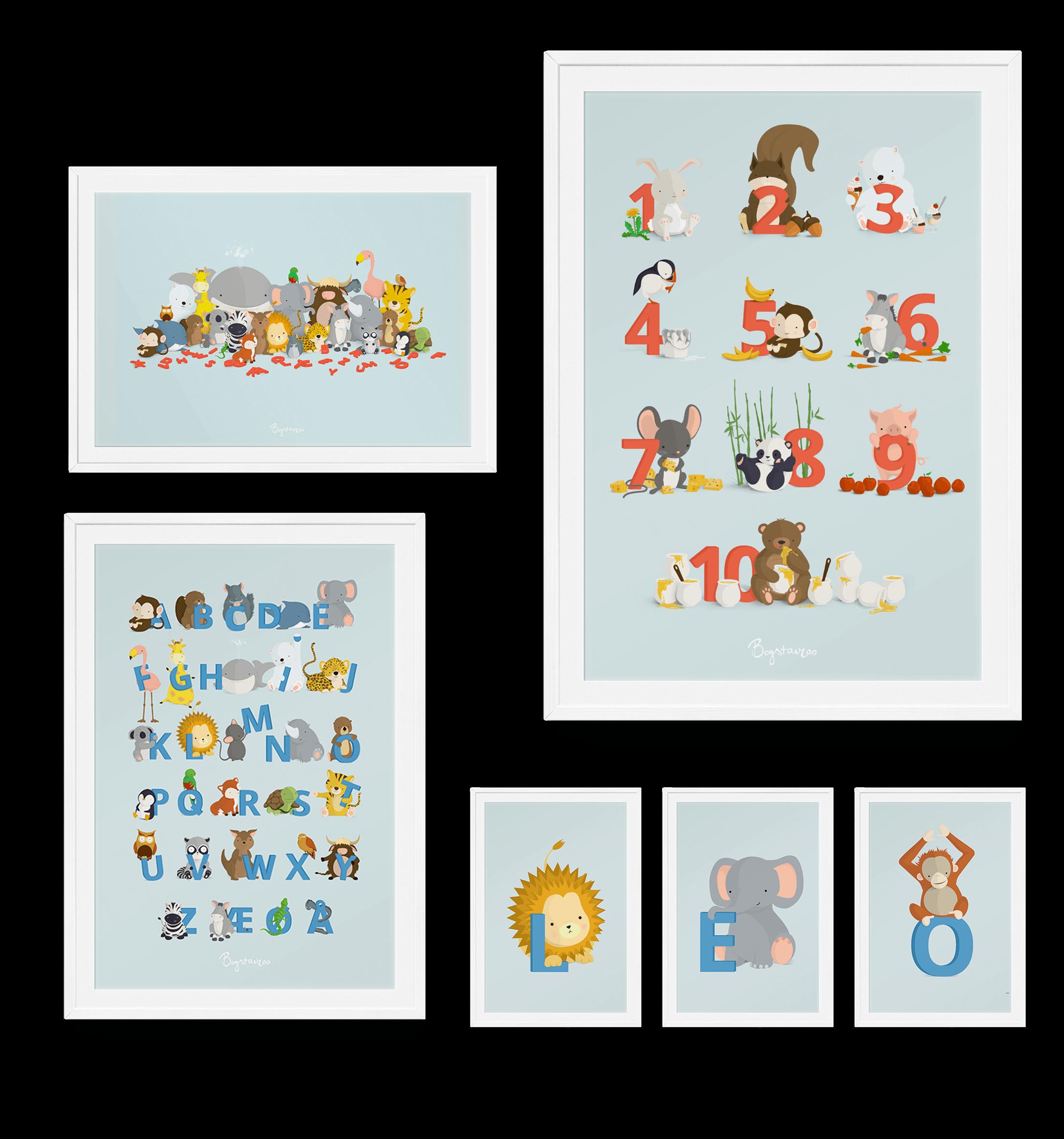 ABC plakater, talplakater og Bogstavplakater fra Bogstavzoo