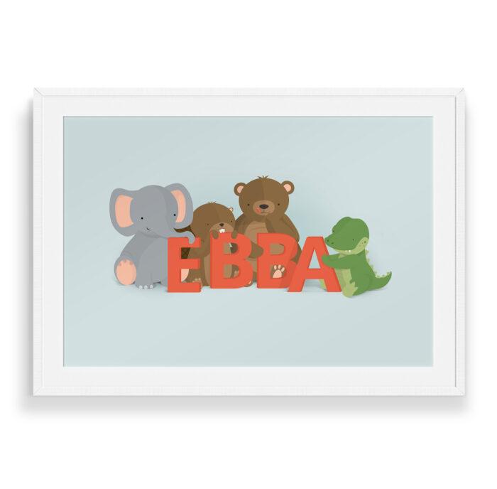 Ebba navneplakat fra Bogstavzoo