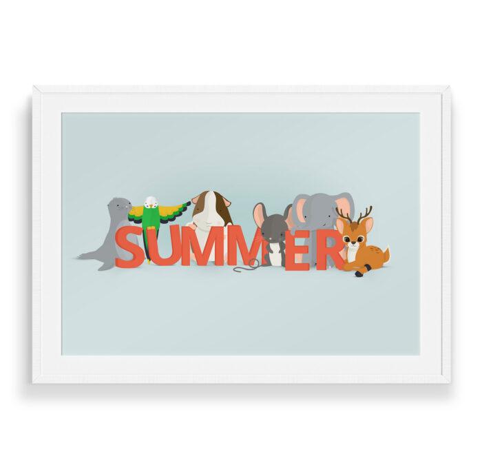 Summer navneplakat fra Bogstavzoo